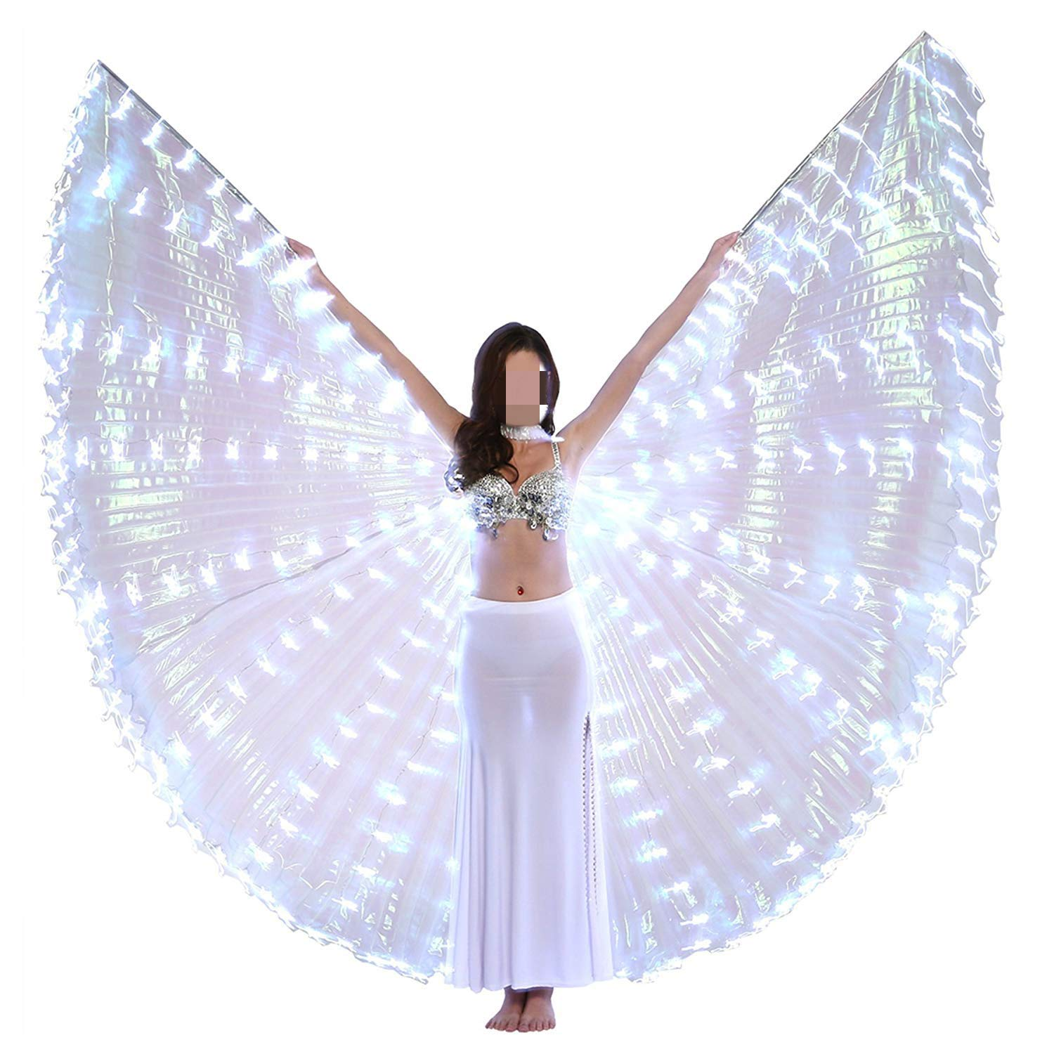 xiaoxiaoland εїз Belly Dance Wing with Rods-360 Degree Angel Wings with Portable Telescopic Sticks for Adults and Child,White by xiaoxiaoland