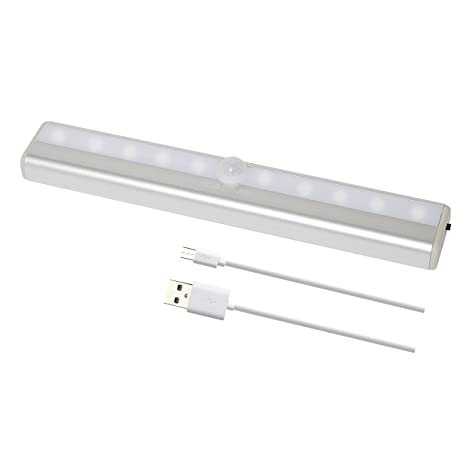 Sensor de movimiento luces 10-LED inalámbrico, batería USB 3 m tira magnética luces