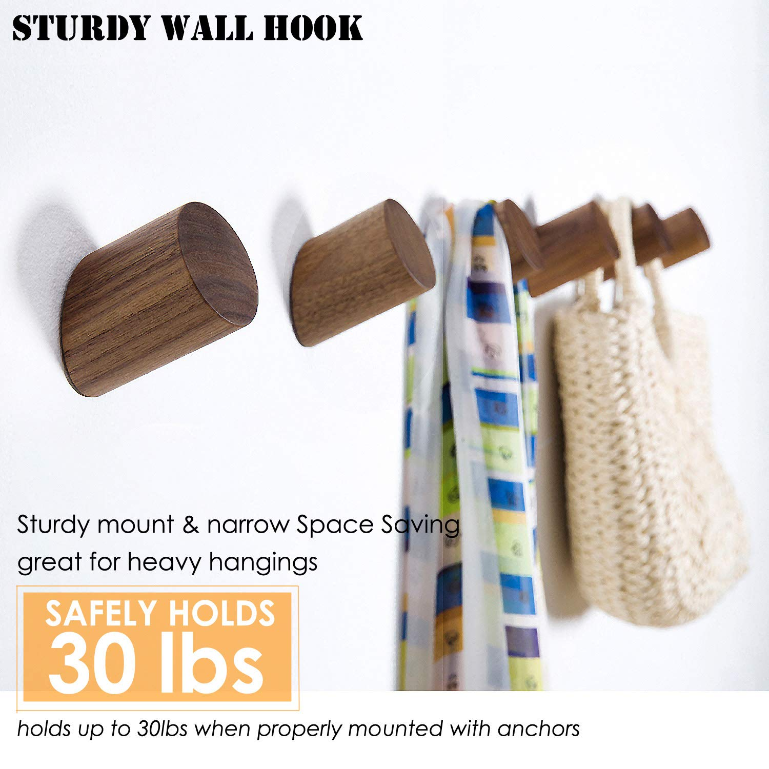 Amazon.com: Felidio - Ganchos de pared de madera natural ...