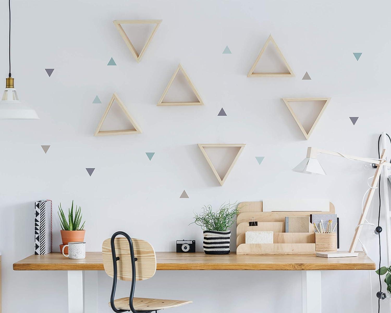 Pegatinas y Vinilos para Decoración de Pared | Triángulos | Adhesivos Decorativos Infantil | Formas Geométricas | 56uds | Rosa, Azul, Mostaza (Azul): Amazon.es: Bricolaje y herramientas