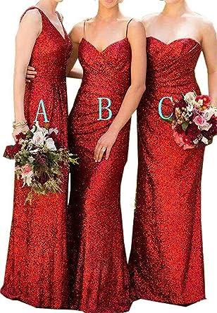 70de2915 Image Unavailable. Image not available for. Color: Women's Long Sequins  Spaghetti Straps Mermaid Bridesmaid Dresses ...