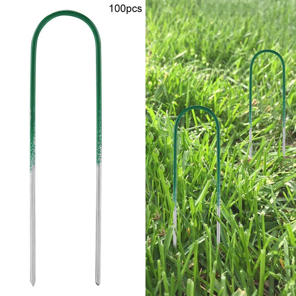 Wifehelper 100 Piezas de estacas de Hierba Artificial de Acero en Forma de U para Valla de jard/ín para asegurar Tela de maleza Paisaje Tela Malla