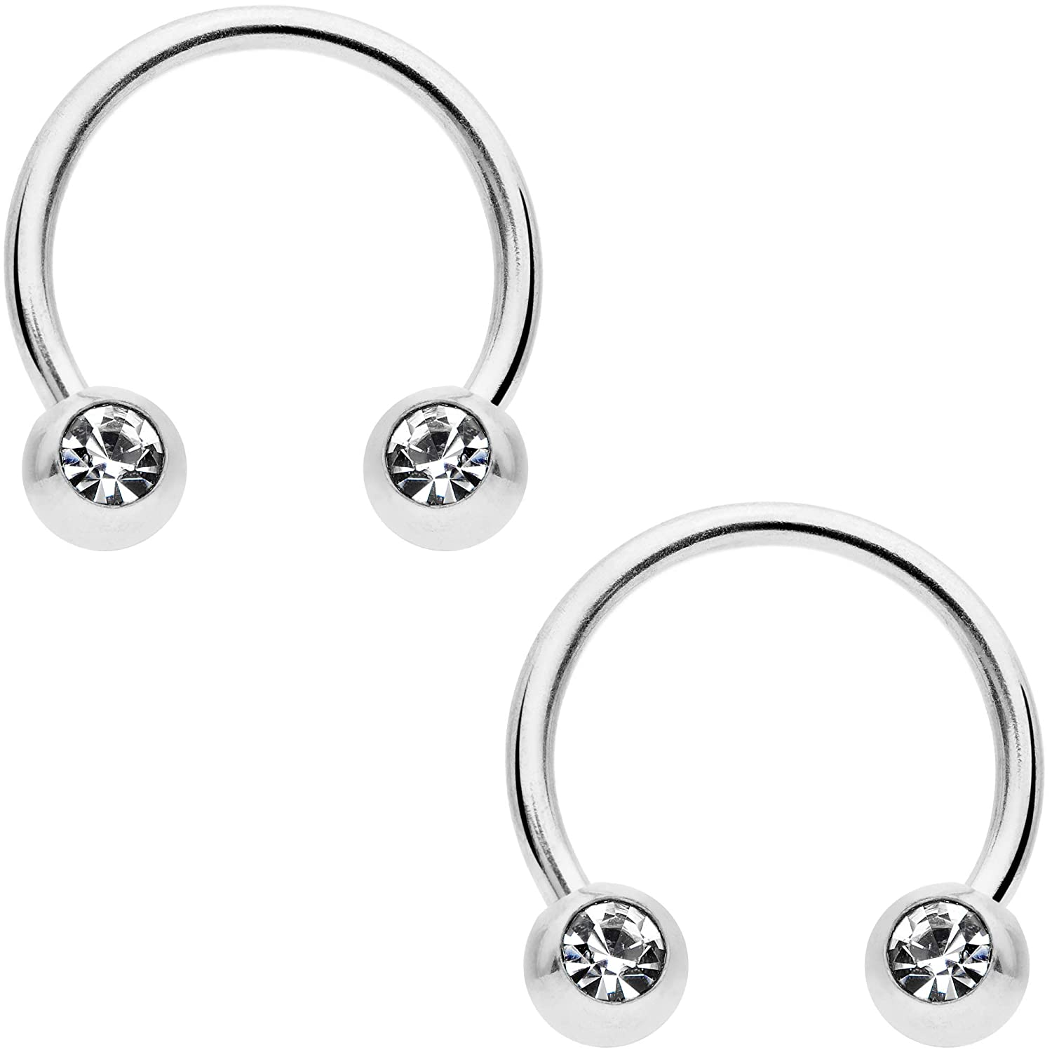 Body Candy 14G Nipplerings Piercing PVD Steel Variety 6Pc Clear Accent BCR Captive Nipple Ring Set 3//8