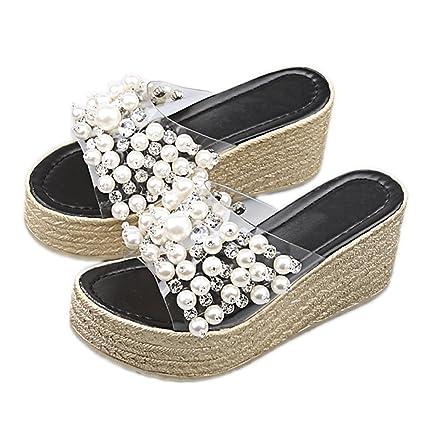 Sandalias con Cordones para Mujer Zapatillas con Plataforma Tacón En Verano Correas Transparentes Zapatos Fondo Negro
