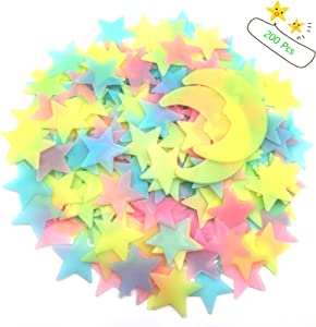 200 Pcs Colorful Glow in The Dark Luminous Stars and Moon Fluorescent Plastic Wall Stickers for Bedroom Living Room, Kawaii Room Home Art Decor for Kids Little Girls