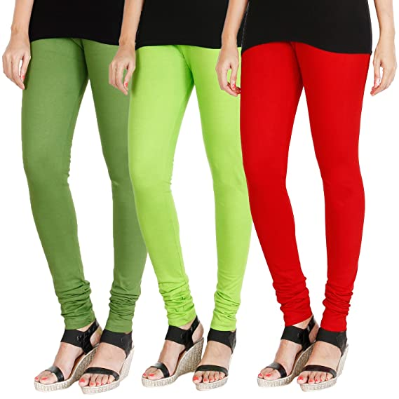 1a6e04d51a HRINKAR® LIGHT GREEN FLUROSCENT GREEN RED Soft Cotton Lycra Plain leggings  for girls combo Pack of 3 Size - L, XL, XXL - HLGCMB0350-L: Amazon.in:  Clothing & ...