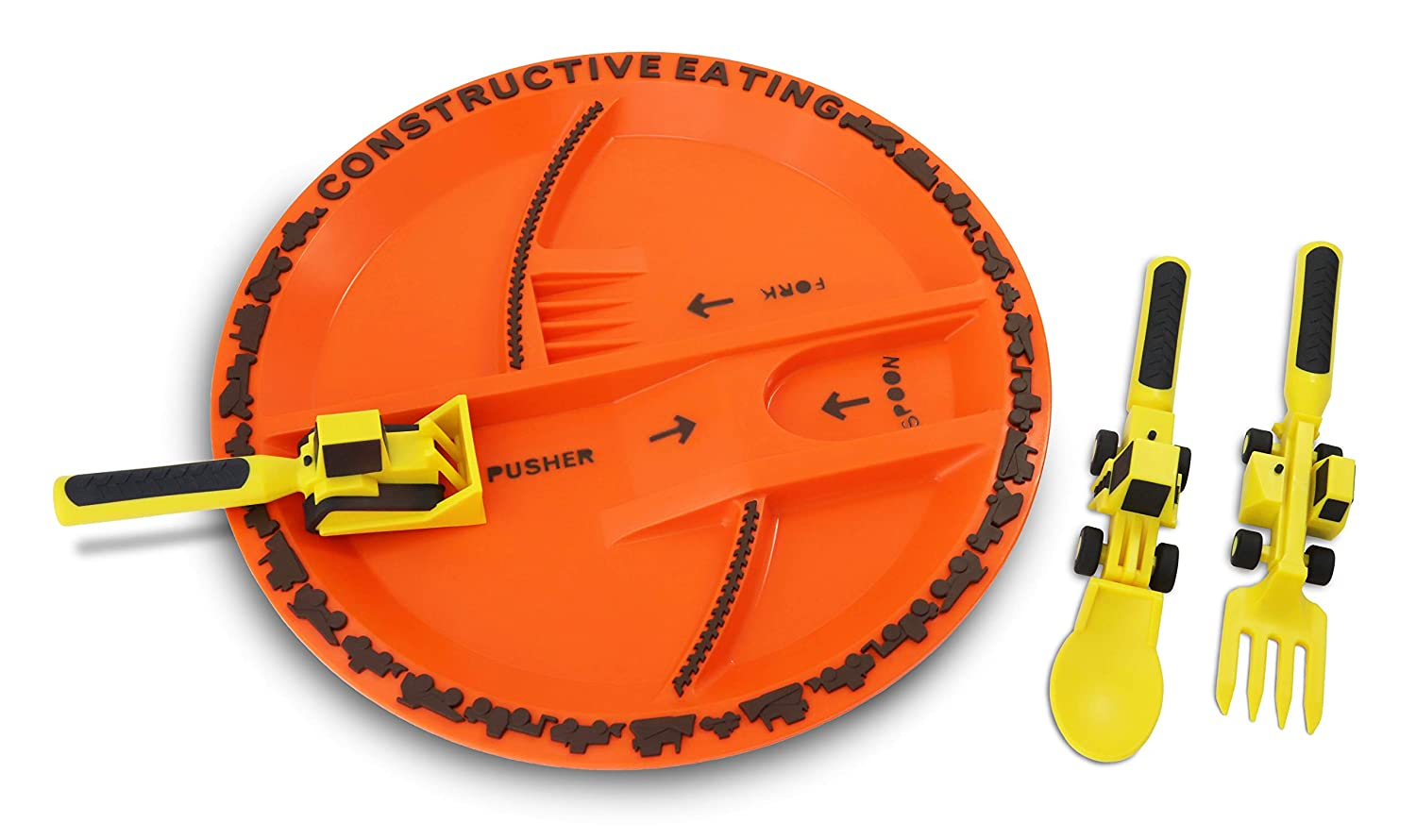 Constructive Eating Construction Plate with Construction Utensil Set for Toddlers, Babies, Infants and Kids - Flatware Toys are Made in the USA with FDA Approved Materials for Safe and Fun Eating
