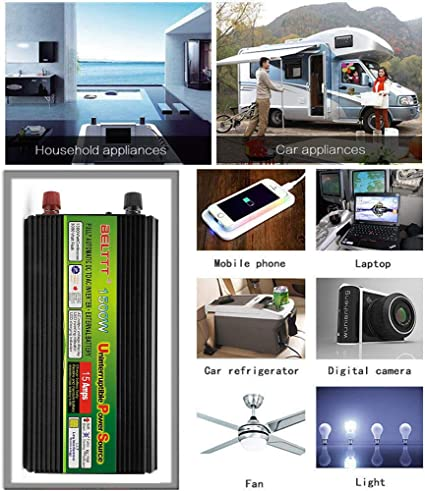 NBQABN Inversor de Onda sinusoidal Pura de 1500W DC 12V / 24V a AC 220V Inversor de Corriente Inversores de Corriente Continua de Alta eficiencia para teléfonos Inteligentes Tableta,24V: Amazon.es: Jardín