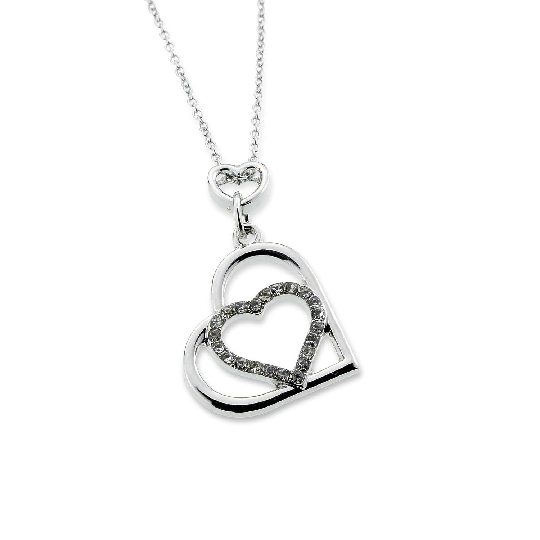 Amazon Romantic Multiple Open Heart Pendant Silver Love