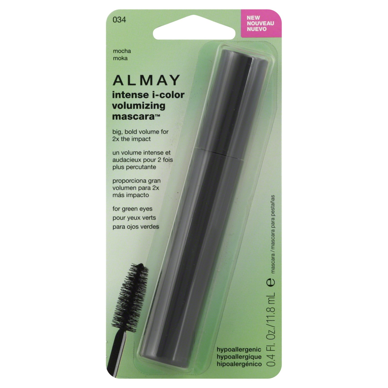 Almay Intense I-Color Volumizing Mascara For Green Eyes, Mocha [034] 0.4