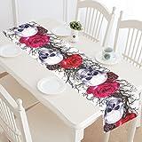InterestPrint Sugar Skull Roses Table Runner Home Decor 14 X 72 Inch, Halloween Skull Tree Branch Table Cloth Runner for Wedding Party Banquet Decoration