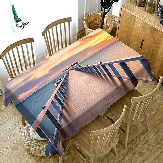 QIGE Manteles Mantel Cascada De Montaña 3D Mantel Decorativo Mantel De Algodón Mantel Cubierta De Mesa De Comedor para Cocina Decoración para El Hogar @ 21_140X200 Cm: Amazon.es: Jardín