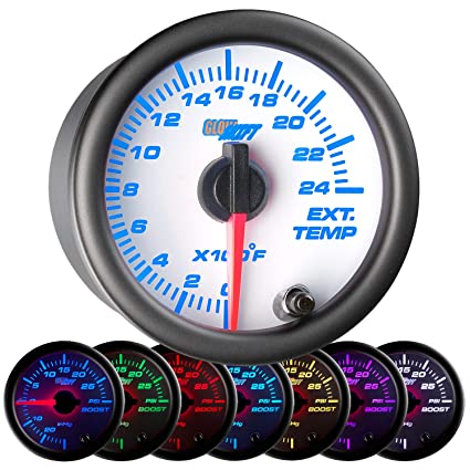 GlowShift White 7 Color 2400 F Pyrometer Exhaust Gas Temperature EGT Gauge  Kit - Includes Type K Probe - White Dial - Clear Lens - For Car & Truck -