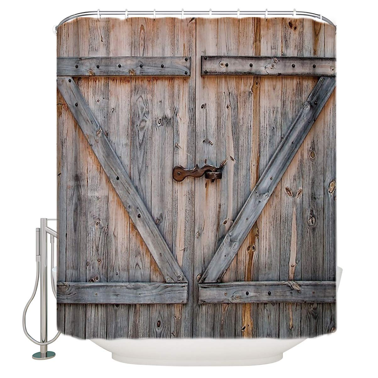 Rustic Country Barn Wood Door Shower Curtain,Waterproof and Mildewproof Polyester Fabric Bath Curtain Design Extra Long 72x96-Inch