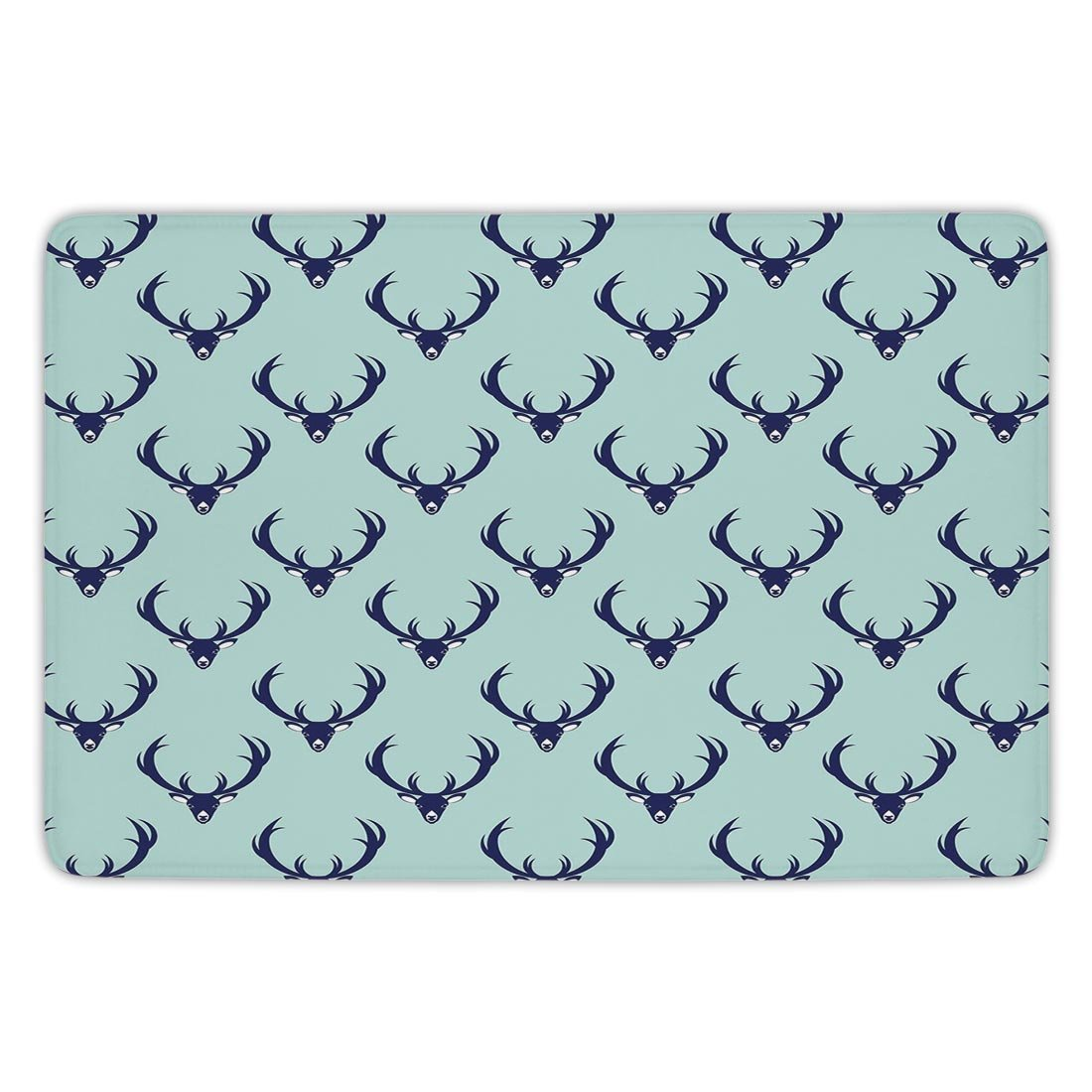 Bathroom Bath Rug Kitchen Floor Mat Carpet,Deer,Jungle Creature Heads with Antlers Abstract Animal Motifs Hipster Wildlife,Pale Seafoam Navy Blue,Flannel Microfiber Non-slip Soft Absorbent