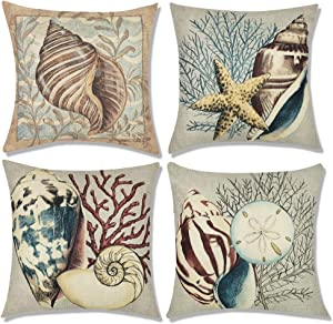 Decorbay Nautical Conch Decorative Throw Pillow Covers 18x18, Set of 4 Ocean Themed Outdoor Pillow Cases for Home Decor, Coastal Beach Style - Blue