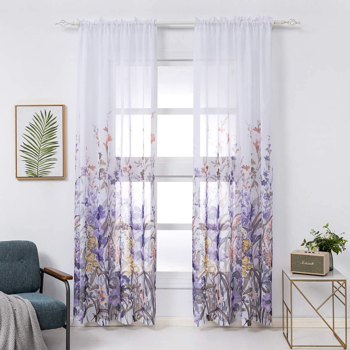 Amazon Com Kotile Floral Sheer Curtains 84 Inch Length Purple Flowers Blossom Print Curtain 2 Panels For Bedroom Living Dining Room 52 X 84 Inches Pair Home Kitchen