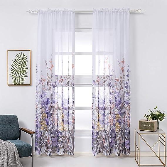 Modern Home Living Room Window Tulip Pattern Curtain Purple //KT