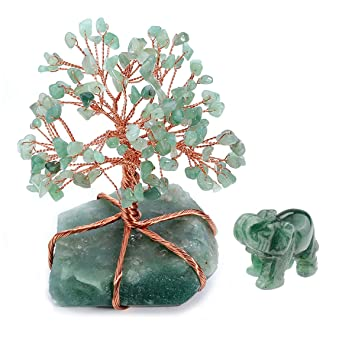 CrystalTears Green Aventurine Money Tree & Elephant Statue Feng Shui  Ornament Decoration for Wealth and Luck