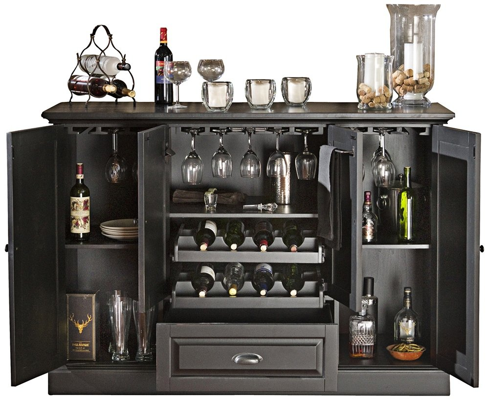 Amazon.com: American Heritage Carlotta Wine Bar In Antique Black 477414:  Home U0026 Kitchen