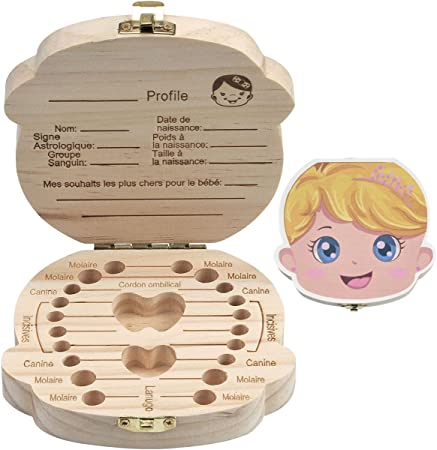 Scrox 1x Cajitas para Dientes de Leche Madera Caja Creativo Guardar Caja Hecho a Mano Bebe Caja de Recuerdo Niña Inglés: Amazon.es: Hogar
