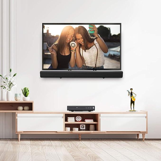 Eono by Amazon - Soporte de Barra de Sonido Universal para Barras con Orificios en la Parte Trasera o Inferior como Samsung LG Bose Sonos, Instalarse Encima o Debajo del TV; Soporte