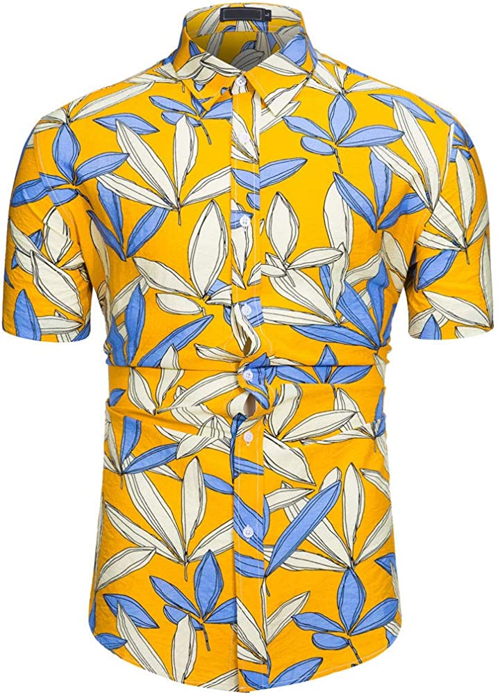 Cocoty-store 2019 Camiseta Hombre Manga Corta Sport Camisa Hawaiana Casual Manga Corta Ajuste Regular para Hombre, XS, Amarillo: Amazon.es: Ropa y accesorios
