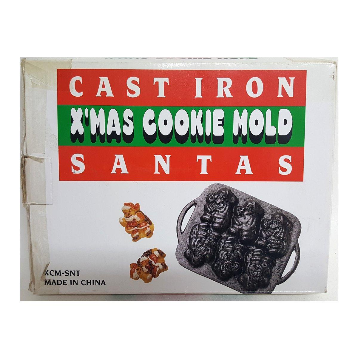 Cast Iron X'mas Cookie Mold Vintage Santas