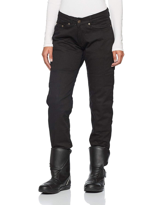 UK 18R, XXL Noir EU 46R Bikers Gear Australia Jeans de Moto pour Femmes CE Genou Armure KEVLAR Stretch Denim