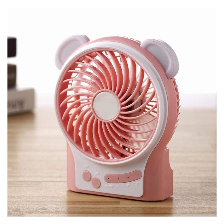 Mini Portable Cooling Fan Portable Mini USB Fan Summer Multifunctional Desktop Fan Rechargeable Handheld Personal Cooling Fan 3 Modes Wind Speeds Color : Pink