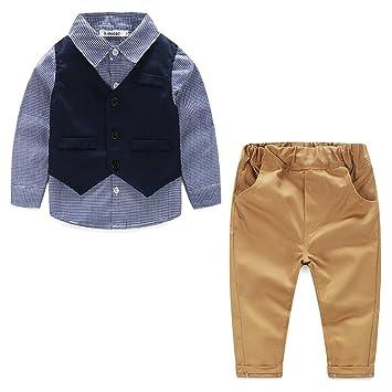 24887f957072e ALLAIBB ベビー服 上下 セット tシャツ ベスト付き ロングパンツ 男の子 春秋服 フォーマルセット 紳士