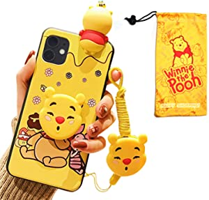 VANVENE Cute 3D Winnie Cartoon Funny Animal Character Case Cover Compatible with iPhone 11 Case 6.1