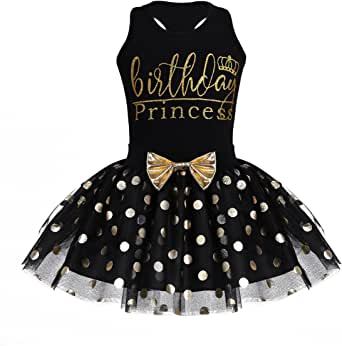 iiniim Toddlers Kids Baby Girls Birthday Outfits Racer-Back Sleeveless Vest with Shinny Polka Dots Tutu Skirt