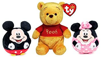 """DISNEY - Pack de 3 peluches """"Winnie de Pooh"""" (sentado 20cm y"""