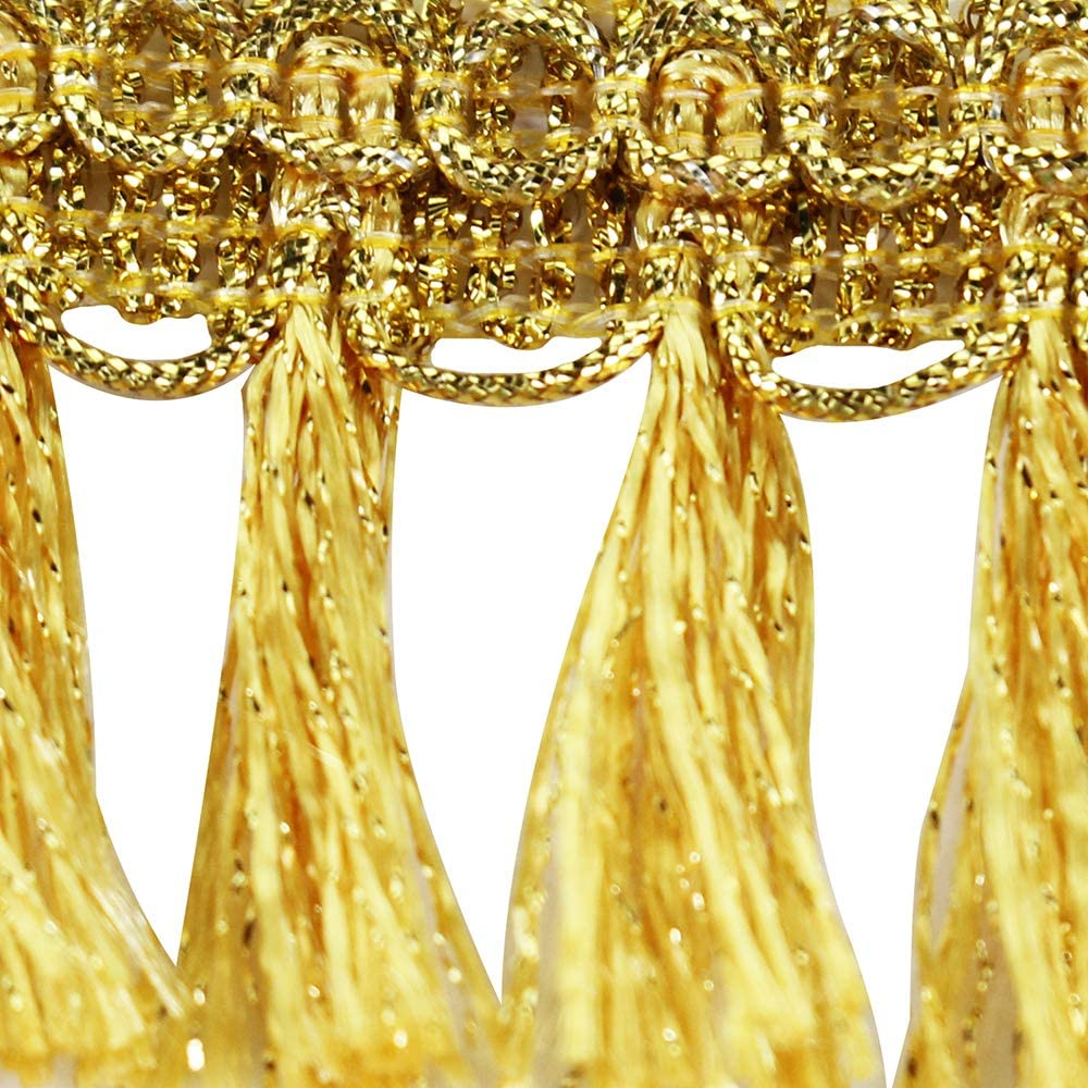Braided Fringe Tassel Lace Ribbon Trim Gold Metallic Tape Band Trimming for Clothes Curtain Decorated 10yards