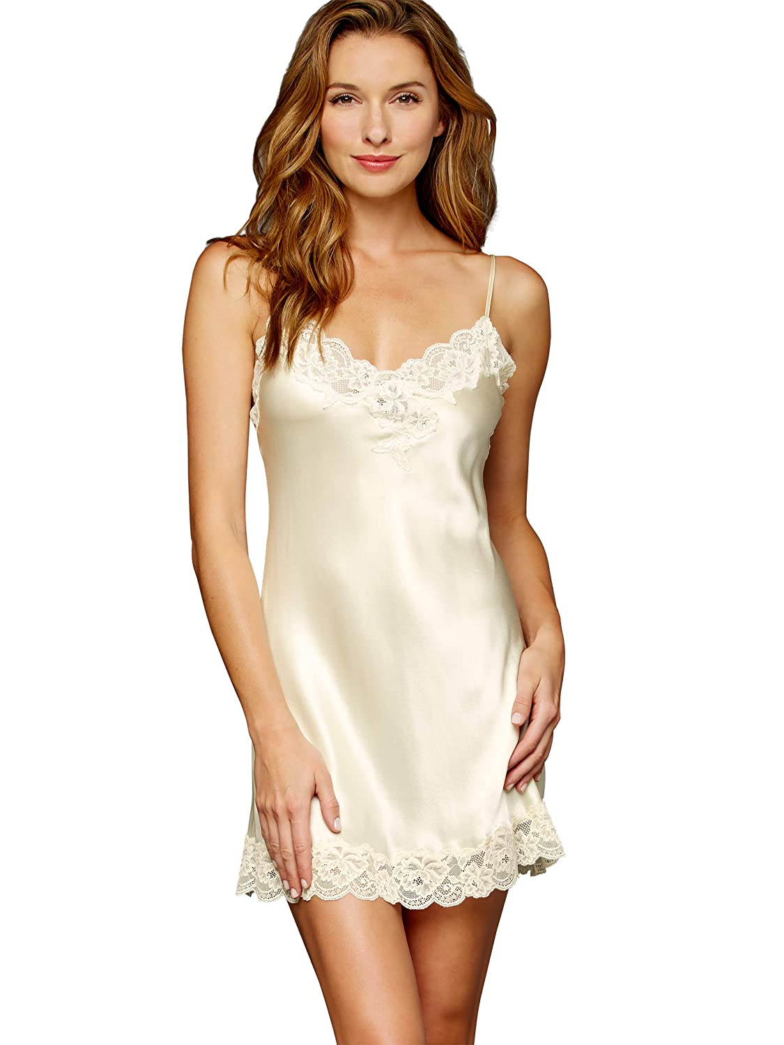 Le Tresor 20122 Flattering Fit Embroidered Lace Julianna Rae Womens Silk Chemise