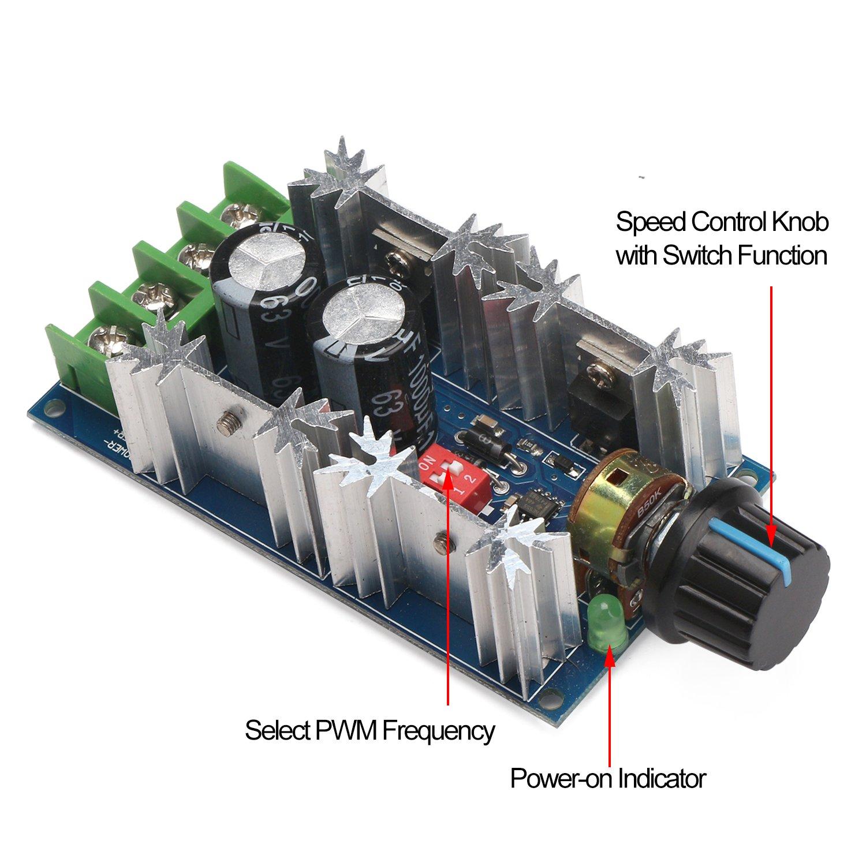 PWM Motor Controller 30A, DROK DC 10-50V 12V 24V 36V 48V Motor ...