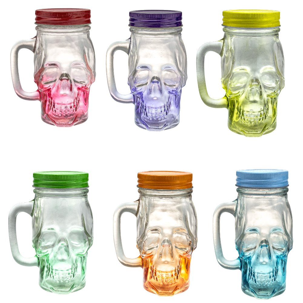 Mason Jar Skull Glass Drinking Mug 12 Ounce with Lid and Handle - Translucent Glass Mug and Stash Jar (Set of 6)