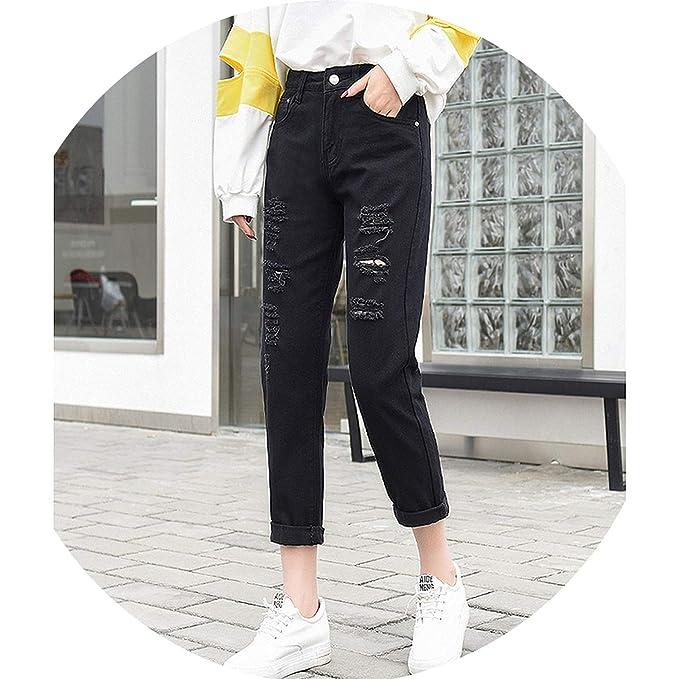 alerghrg Fashion Ripped Jeans Woman High Waist Boyfriend ...