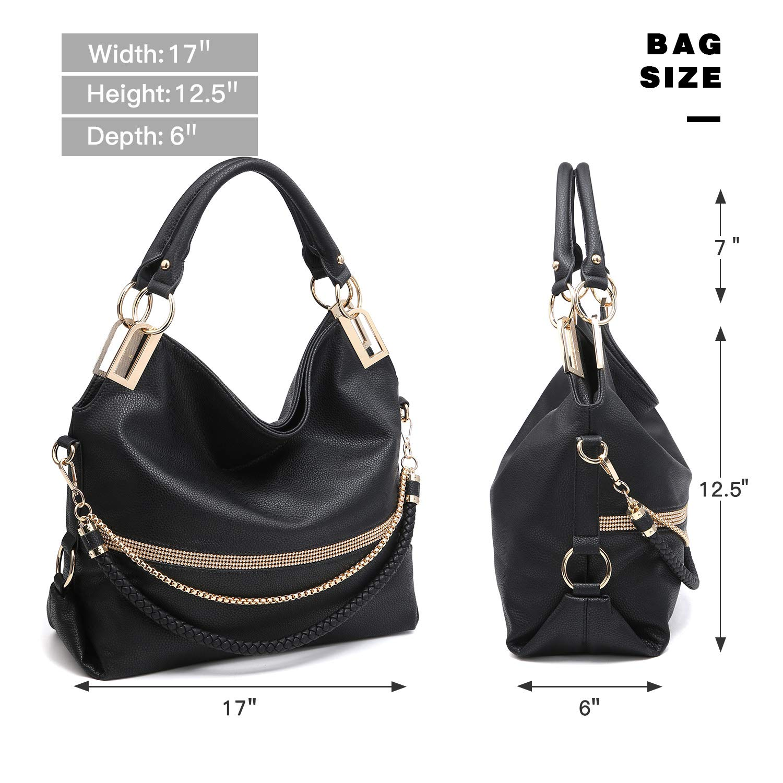 020407b8d3c4 Amazon.com  Dasein Women s Classic Rhinestone Detail Large Hobo Bag Top  Handle Purse Shoulder Bag w Shoulder Strap (4-7350 Black)  Shoes