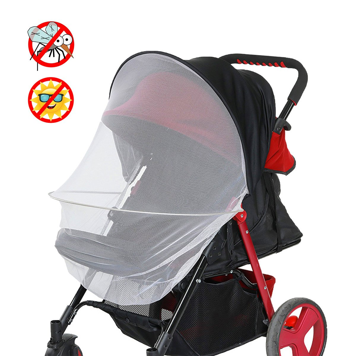 Dreamsoule 2-in-1 Baby Stroller Sun Shade Cover & Mosquito Net, Universal Infant Stroller Canopy, Protect Baby from Ultraviolet Ray/Dust/Bug, Fit for All Seasons
