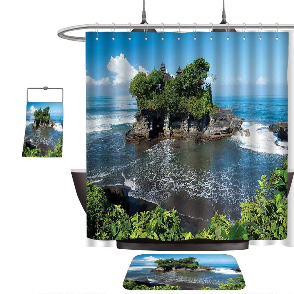 3 Piece Bath Rug SetBalinese Decor Tanah Lot Temple in Bali Island Wavy Ocean Historic Architecture Heritage Picture Green Blue. Bathroom Rugs Shower Curtain/Bath Towls Sets(Ten sizes select)