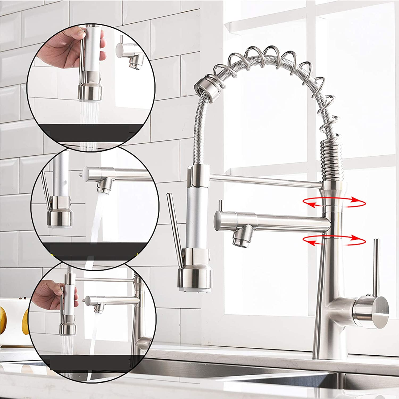 TIMACO Grifo de cocina con muelle en espiral, grifo y ducha extensibles, giratorio 360°, níquel cepillado, grifo monomando y pulverizador de presión