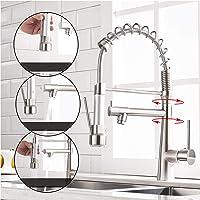 TIMACO waterkraan keuken - 360 ° draaibaar met spiraalveer douche uittrekbaar Gastro Hogedruk keukenkraan gootsteen…