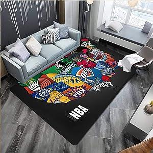 NBA Basketball Home Decor Large Area Rugs for Boys Girls Kids Baby Bedroom, Polyester Fiber Non-SlipFloor Carpets Yoga Mat,Hairless Crystal Velvet Sofa Floor Mat for Living Room
