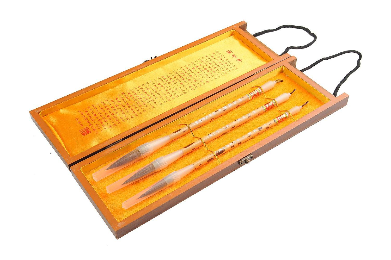 Quantum Abacus Calligrafica Pro: 3 pinceles caligrafía profesionales de caligrafía pinceles para expertos en caligrafía china o japonesa (Huangshumao + Zamao), en elegante caja de regalo, Mod. H-CGB-S3-06 455483