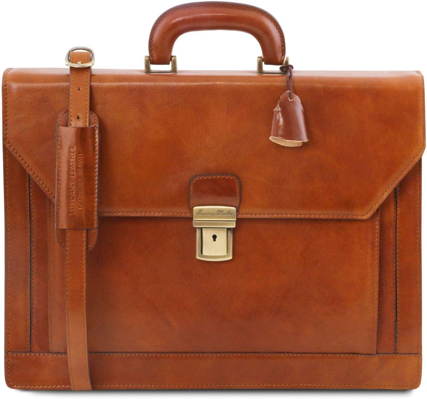 Tuscany Leather - Roma - Porta Folios en Piel con 3 Compartimentos Miel - TL141349/3 Miel