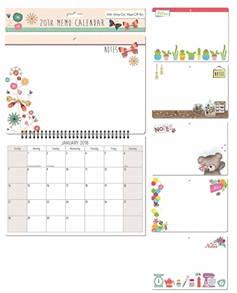2018 illustrated photo memo calendar month to view with write on
