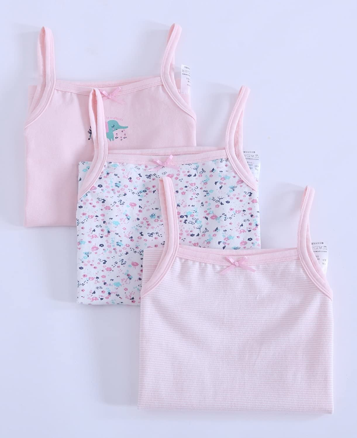 Zegoo 10-12 Years Girls 3 Pack Pink Camisole Cotton Tank Tops