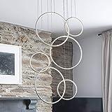 ROYAL PEARL Foyer Chandelier Contemporary LED Adjustable 6-Rings Modern Pendant Lighting for Living Dining Room Bedroom Hallw